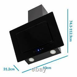 ElectriQ 60cm Sloping Colour Change Chimney Cooker Hood Black eiqATS60