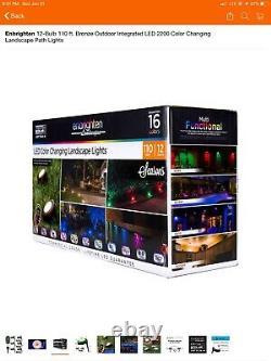 Enbrighten Landscape Path Lights 12 Puck Lights 110 ft LED Color Changing