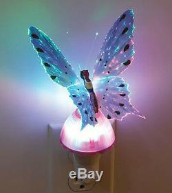 Fiber Optic Butterfly LED Color Change Night Light Lamp Purple