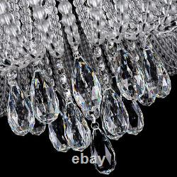 Flush Ceiling Light Chandelier Remote CTRL + Bluetooth 3 Colours Genuine Crystal