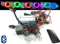 H8 Cree LED Bluetooth Colour Change Angel Eye Halo Rings For BMW E90 E91 07-10