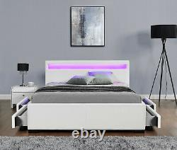 Harmin Double Size Bed Frame with 4 Drawer Storage LED Colour Changing Headboard