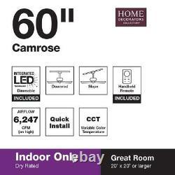 Home Decorators Collection Camrose 60 LED Bronze Ceiling Fan Color Changing Tec