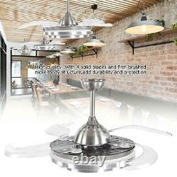 LED Ceiling Fan Light 4 Retractable Blades 3 Color Lamp Change Remote Control