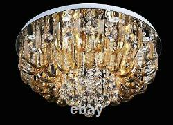 LED Chandelier Crystal Ceiling Lamp Light Colour Changing Remote MP3 Bluetooth