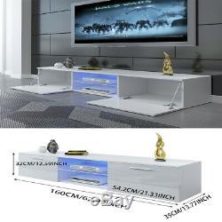 Large 160CM Corner TV Unit Cabinet Stand Sideboard Matt body&High Gloss Door LED