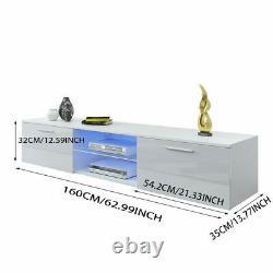 Large 160cm White TV Unit Cabinet Stand Matt body & High Gloss Doors LED 2 Draws