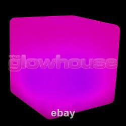 Light Up LED Colour Changing Cube Stool Seat Chair Illuminated Rechargeable Glow