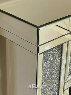 Mirrored Fireplace Crushed Diamond Colour Changing LED Mirrored Furniture