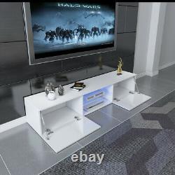 Modern 16CM TV Unit Cabinet TV Stand Matt Body & High Gloss Doors LED Light UK