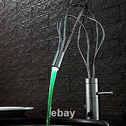 Modern Mono Bathroom Color Changing Basin Mixer Tap Slender Pipes LED Filler Tap