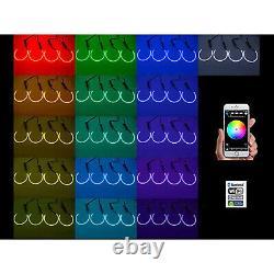 Multi-Color LED RGB Headlamp Halo Ring BLUETOOTH Set For 08-14 Dodge Challenger
