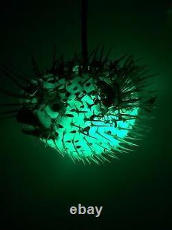 NEW 17! Puffer Fish Lamp withcolor changing LED Light Tiki bar Smokin Tikis fx