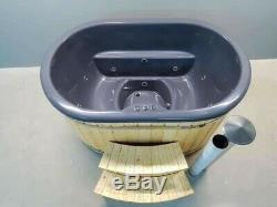 Ofuro Style Wooden Fiberglass Wood Fired Hot Tub For 2 With Jacuzzi&led Systems