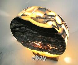Rare 13 Black Accent Onyx Stone Moon Shape Table Lamp Collectible One of a Kind