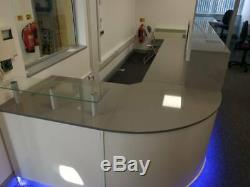 Reception Desk Cappuccino Gloss, Curved Corner, Led Colour Changing Lights