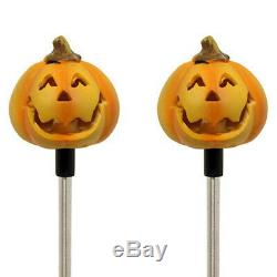 Set of 2 Solar Powered Round Pumpkin Yard Garden Stake Color Changing LED Light
