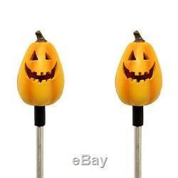 Set of 2 Solar Powered Tall Pumpkin Yard Garden Stake Color Changing LED Light
