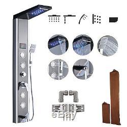 Shower Tower Panel Waterfall & Massage Jets with Hand Shower Rain Column Wall