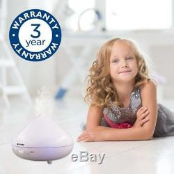 Silentnight White Ultrasonic Aroma Mist Diffuser with Colour Changing LED Lights