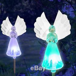 Solar Power Angel with Fiber Optic Wings Yard Garden Stake Color Change LED Light
