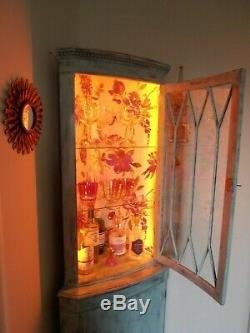 Stunning hand painted Gin/Cocktail Corner Cabinet with mains colour changing LED