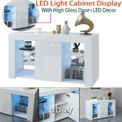 TV Unit Cabinet Stand Sideboard Cupboard Matt Body & High Gloss Doors LED Light
