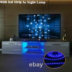 Tasitble Large 160cm White TV Unit Cabinet Stand Matt body High Gloss LED 2 Draw