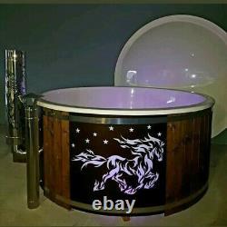 Thermowood Fiberglass deluxe hot tub 316ANSI heater + jacuzzi + LED + Logo