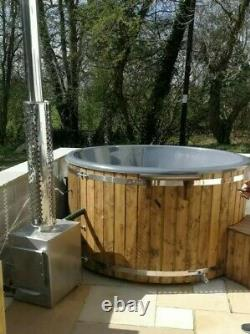 Thermowood Fibreglass Hot tub 316ANSI external wood fired heater + Jacuzzi + LED