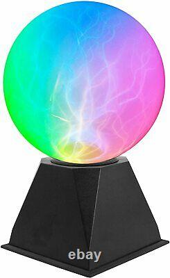 Touch & Sound Activated 6 Lightning Storm Plasma Ball Colour Light Globe Lamp