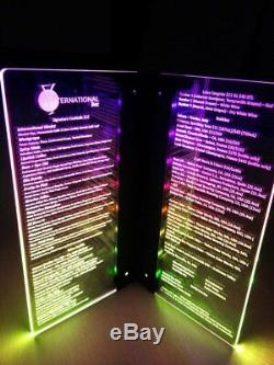 Twilight Led Menu Fully Customized Led multi Color Changing menu 5.5 x 11.5
