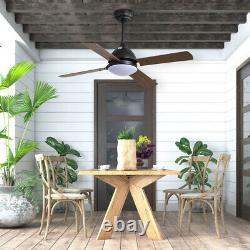 Vintage Wooden Blades Ceiling Fan Light Remote Control 3 Color LED/3 Speed/Timer