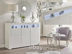 WHITE High Gloss Doors/Top Sideboard Cabinet Cupboard Display Unit LED RGB Light