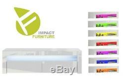 WHITE High Gloss Doors Top TV Cabinet Entertainment Unit Colour Change LEDs Lily