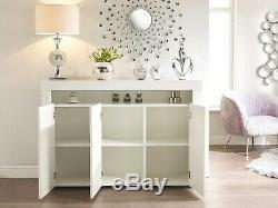 White Gloss Top Doors Sideboard Modern Cabinet Cupboard Buffet Gloss Unit Light