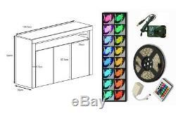 White High Gloss Sideboard White Matt Body Modern Cabinet Cupboard RGB LED Light