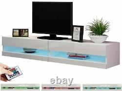 White High Gloss TV Stand with Colour Changing Remote Control LED Lights 180cm