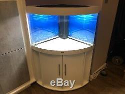 White Juwel Trigon 190 Corner Fish Tank LED Colour Changing Bluetooth Lights